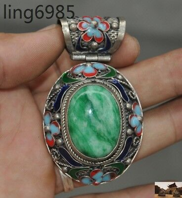 Old chinese tibetan silver Cloisonne Inlay emerald jade flower Pendant Jewelry