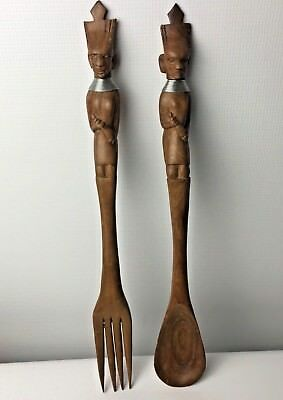 Vintage Carved African Dark Wood Salad Fork Spoon Wooden Servers