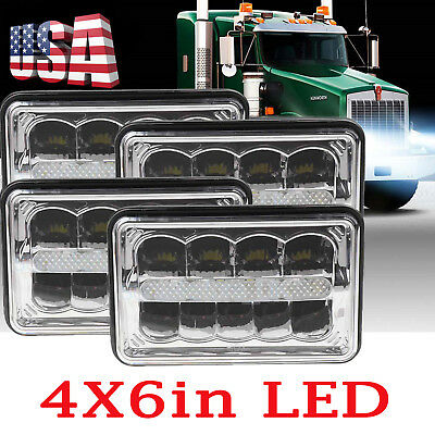 """4Pcs LED Headlight High Low 6"""" DRL High Low 6000K for Kenworth T600 T800 W900L"""