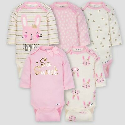 Baby Girl Lot of 5 Onesies Sweet Princess Bunny Long Sleeve NWT Gerber