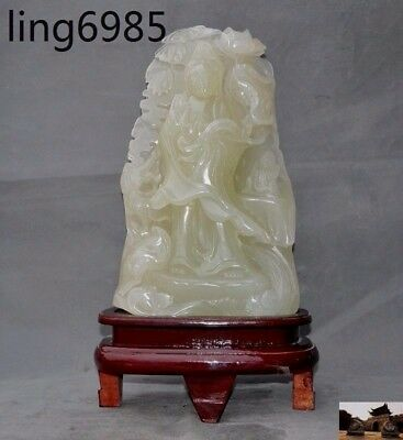 Natural Jade carved Chinese buddhism boy dragon Kwan-yin Guan Yin buddha statue