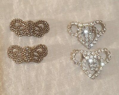 Antique French Marcasite Shoe Clip and pair of vintage Rhinestone shoe clips