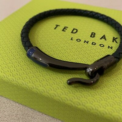 2894b1bf40db9 TED BAKER Men s Chewer Clasp Woven Leather Bracelet Navy Blue