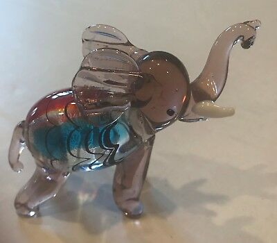 Art Glass Elephant Figurine Murano Blue Clear Red Green Applied White Tusk Blown