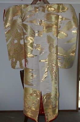Beautiful Wedding Kimono Embroidered Cranes and flowers- Gold, Cream and Red
