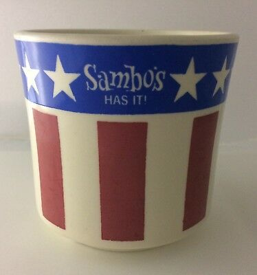 "Vintage 1970s ""Sambo's Has It!"" coffee mug stars and stripes motif"