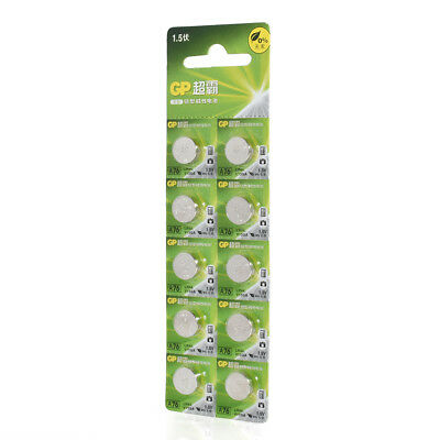 GP A76 LR44 AG13 Alkaline Cell 1.5V Alkaline Button Cell Battery x 10