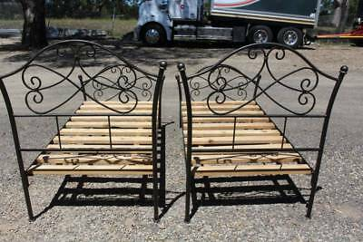 One of Two Vintage Wrought Iron Single Beds with Slat Base