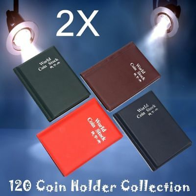 Collection Storage Holders Money Penny Pockets Album Book Collecting 2X 120 Coin
