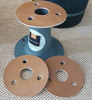 """JBL 1"""" 3 hole 2x GASKETS leather pro quality 2x joints cuir for 2327 2420 2425"""