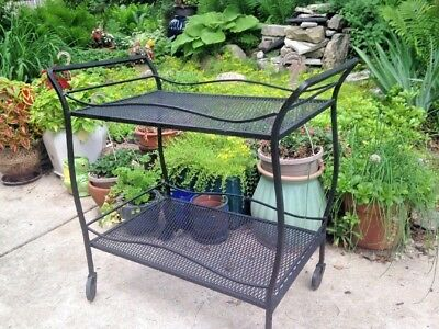 Vintage Woodard Outdoor Wrought Iron Serving Cart