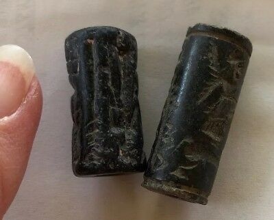 Ancient Sumerian 2 Cylinder Seals & 5 Shell Money Rings Authentic 3500 BC