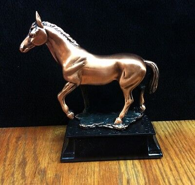 Stallion Horse ~ Copper Metal Finish ~ Trophy ~ Statue ~ Figurine