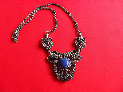 Vintage Art Deco / Nouveau Lapis Color Floral Flower Ornate Pendant Necklace