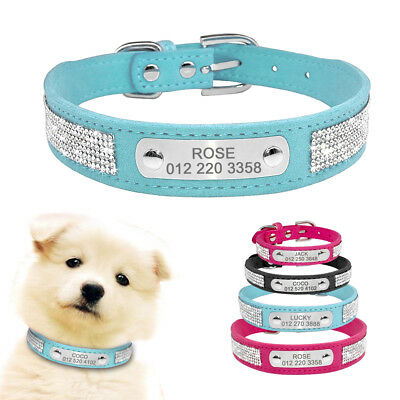Personalised Dog Collar Rhinestone Bling Pet Do Cat ID Name Collar Pink  XS S L