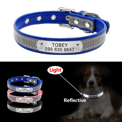 Reflective Leather Dog Collar For Small Dogs Chihuahua Personalised Dog Collar
