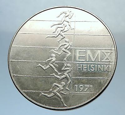 1971 FINLAND European Athletic Games TRACK Antique Silver 10 Markkaa Coin i71395