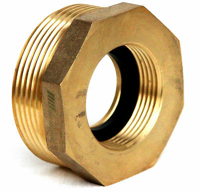NNI Fire Hydrant Brass Hex Adapter 2-1/2 NST (NH) Male X 1-1/2 NST (NH) Female