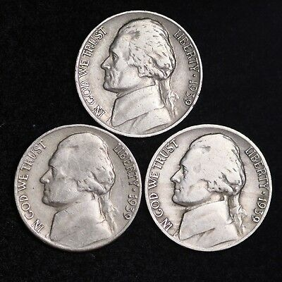 1939 P D S Jefferson Nickel Set (3 Coin Lot) Nice GOOD / VG FREE SHIPPING