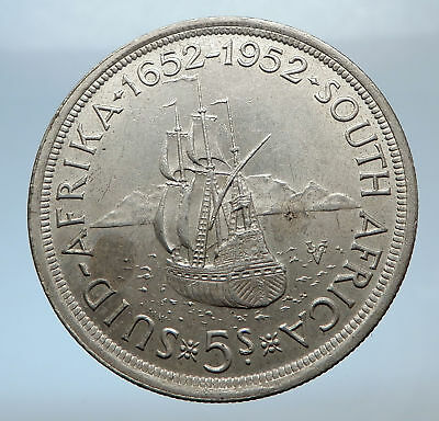 1952 SOUTH AFRICA 300th Cape Town Riebeeck w SHIP Silver 5 Shillings Coin i72473