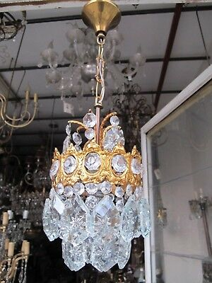Antique Vintage French Brass Gold Mini Crystal Chandelier lamp 1940s 5,6 in dmtr