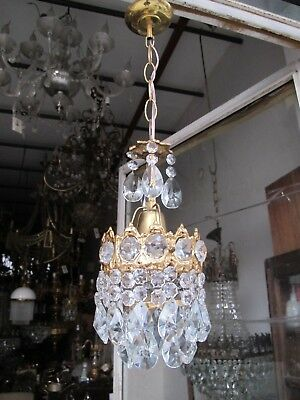 Antique Vintage French Brass Mini Crystal Chandelier lamp 1940s 5,6 in dmtr