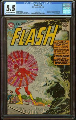 The Flash #110 CGC 5.5 OW/W Pg Origin First appear Kid Flash Weather Wizard Key