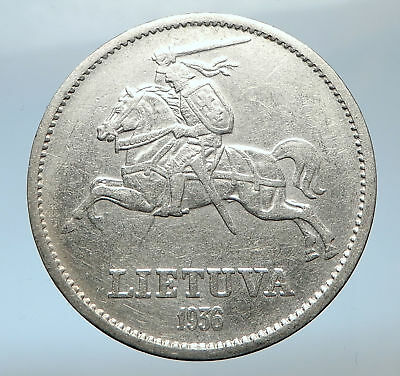1936 LITHUANIA Vytautas the Great Vintage Lithuanian Silver 10 Litai Coin i73803