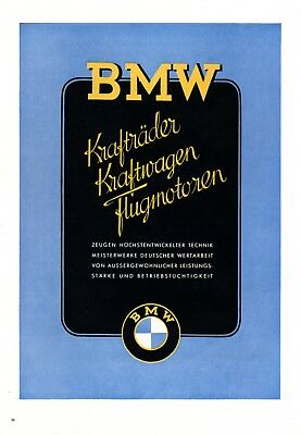 BMW advertisement 1943 !!! automobiles aircraft engines motorcycle car German ad