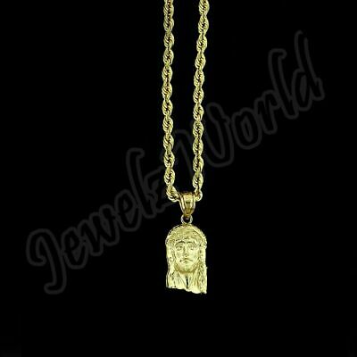 Real 10K Yellow Gold Small Jesus Face Charm Pendant With 2mm Rope Chain