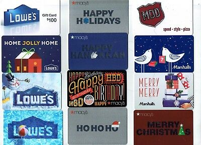 Collectible Gift Card - YOU CHOOSE 3 for $1.59 -Holiday Macy's, Lowe's- No Value