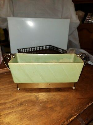Small 8 inch Mid century modern green rectangle planter with metal holder