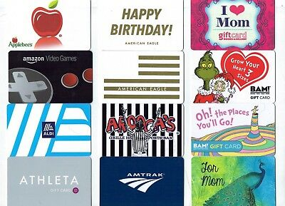 Collectible Gift Card - YOU CHOOSE 3 for $1.59 - BAM!, Amtrak, Food - No Value
