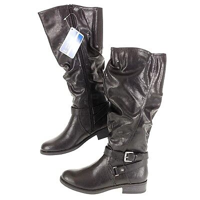 30cb89bbec89 White Mountain Womens 7 Boots Layton High Long Tall Slouched Black WIDE  CALF New
