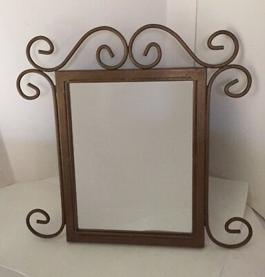 Vintage Antique Gold Wrought Iron Mirror - Table Top Easel or Wall Hang