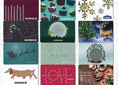 Collectible Gift Card - YOU CHOOSE 3 for $1.59 -Christmas- Kohl's, Lowe's Santa