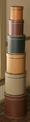 New Primitive Folk Art Tall Stack 6 SHAKER STACKING BOXES Burgundy Black Mustard
