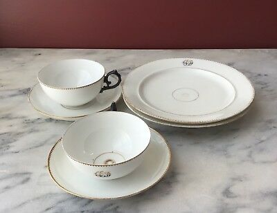 6 Antique monogrammed porcelain teacup, saucer,plates,19th C.?, Chinese Export