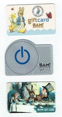 BOOKS-A-MILLION BAM Collectible Gift Card LOT of 3 Alice, Peter Rabbit -No Value