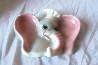 Vintage Dumbo White Elephant Spoon Rest Or Wall Hook hanging or counter