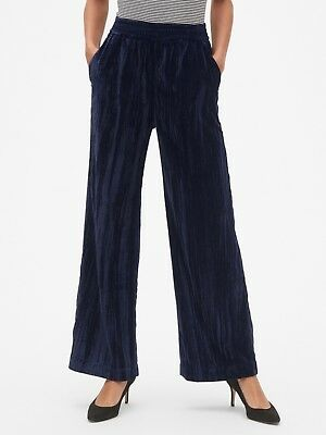 Gap Women's High Rise Wide Leg Pants In Crinkle Velvet Size M- Navy- NWT
