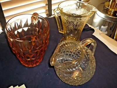 Three Eapg Antique Glass Water Pitchers.  Pink, Yellow, White