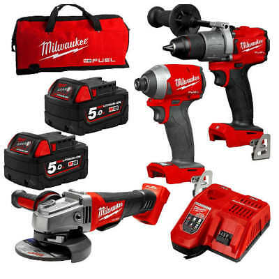 Milwaukee M18FPP3A2-502B - 18V Cordless Brushless 3 Piece Combo Kit Drill Impact