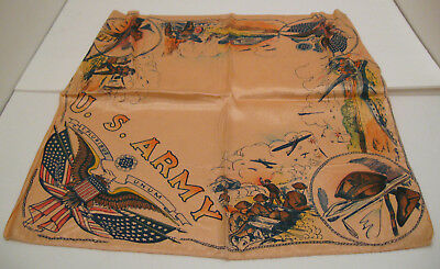 Vintage WWII U.S. Army Silk Scarf Airplanes Bombers Rifles Tanks Military Men