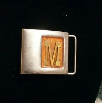 Initial M Belt Buckle Gold Lee New York Vintage Letter NY Small Unisex Western