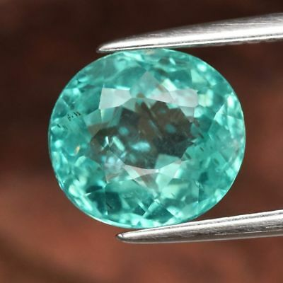 3.29 ct 9.3x8.6 mm Oval Natural Unheated Paraiba-Color Neon Green Blue Apatite