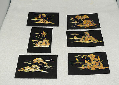 Vintage Bamboo Art Asian Reed/Palm Leaf Black Cloth Fuji Chinoiserie