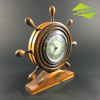 Vintage British Made Enfield Wooden Ships Wheel Mantle Clock Nautical Boating