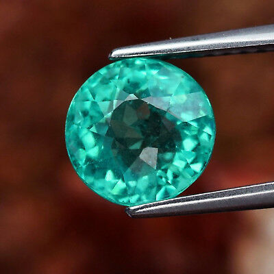 1.99 ct 7.3 mm Round Natural Unheated Paraiba-Color Neon Blue Green Apatite