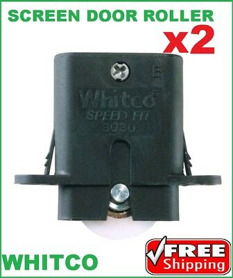 2 x Whitco Sliding Security Screen Door Rollers W862600 Spring Loaded Rollers